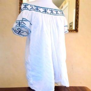 White Off Shoulder Peasant Blouse XL